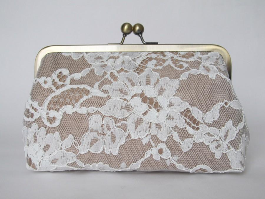 Hochzeit - Silk And French Chantilly Lace Ivory/Champagne Clutch,Bridal Accessories,Wedding Clutch,Bridal Clutch,Bags And Purses