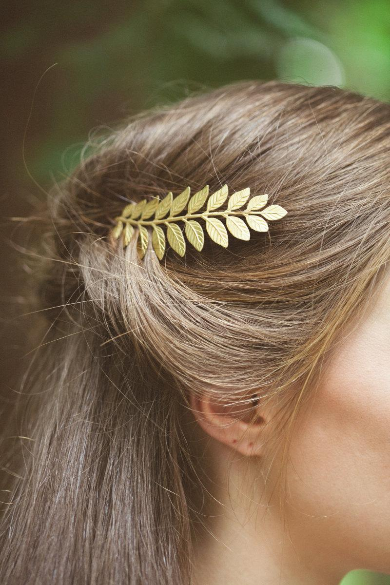 زفاف - Gold Laurel Leaf Hair Clip Laurel Leaf Hair Pin Laurel Leaf Bobby Pin Grecian Bridal Hair Accessories Grecian Bride Grecian Weddings Summer