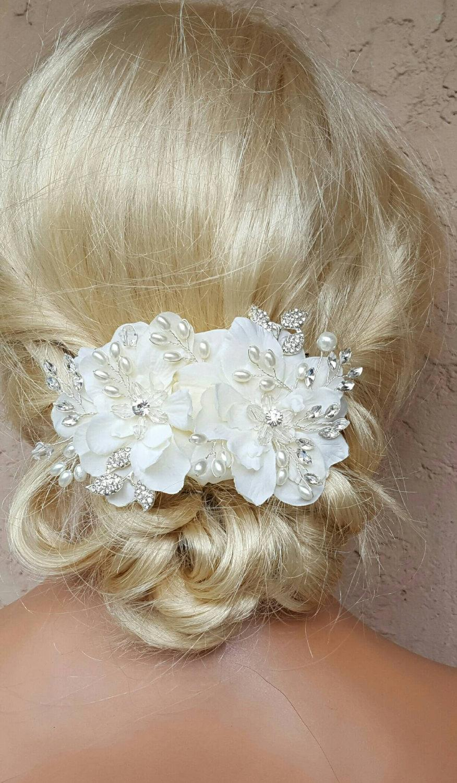زفاف - Bridal Hair Comb, Wedding Comb, Decorative Comb, Floral Wedding Comb, Rhinestone  Bridal Comb, Ivory Pearls, rhinestone leaves, crystals