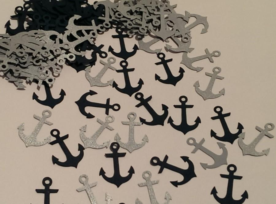 Hochzeit - Anchor Confetti in Navy and Silver -Table scatter- 100 pieces - Nautical party decorations