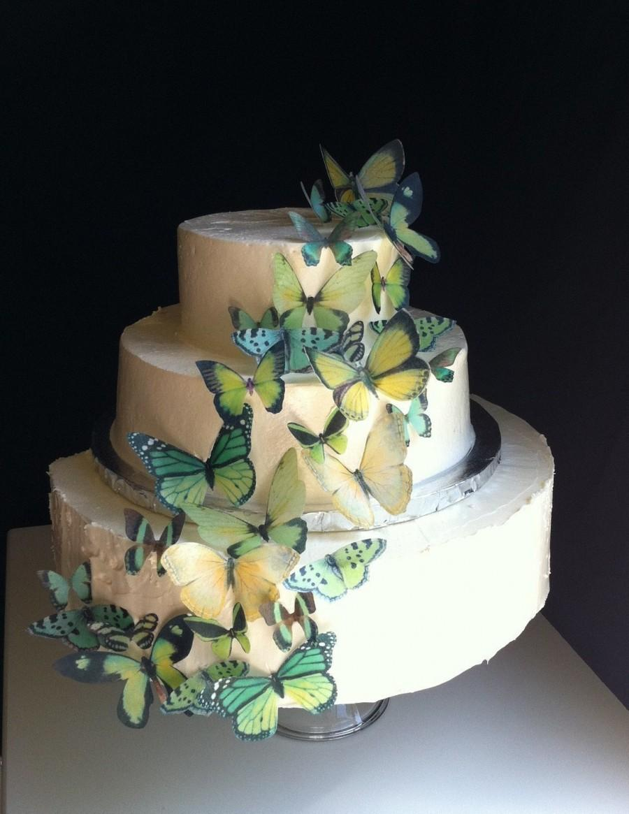 Свадьба - Wedding Cake Topper The Original EDIBLE BUTTERFLIES - Assorted Green set of 30 - Cake & Cupcake toppers - Food Accessories