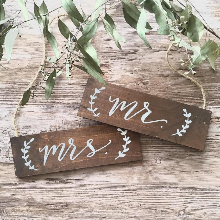 Mr. & Mrs. Wedding Signs / Wedding Chair Signs / Wooden Hanging ...