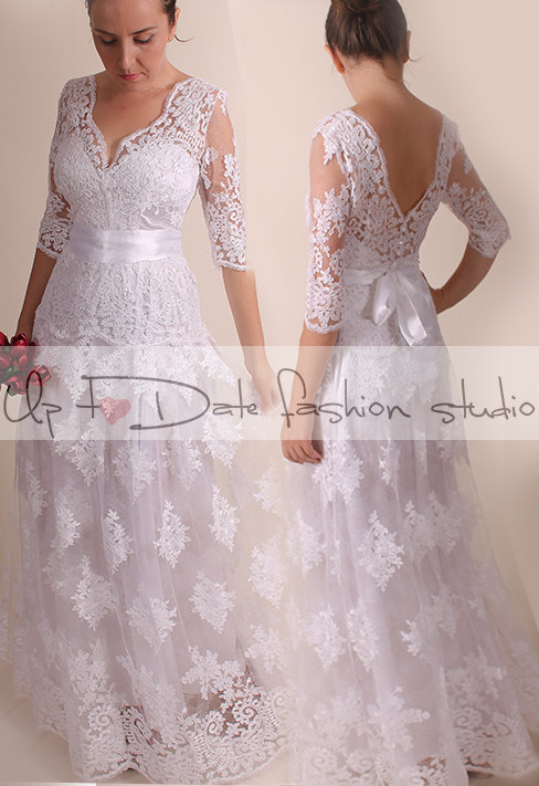 Lace Plus Size /Vfront & Back /long/ Mаxi Wedding Party ...