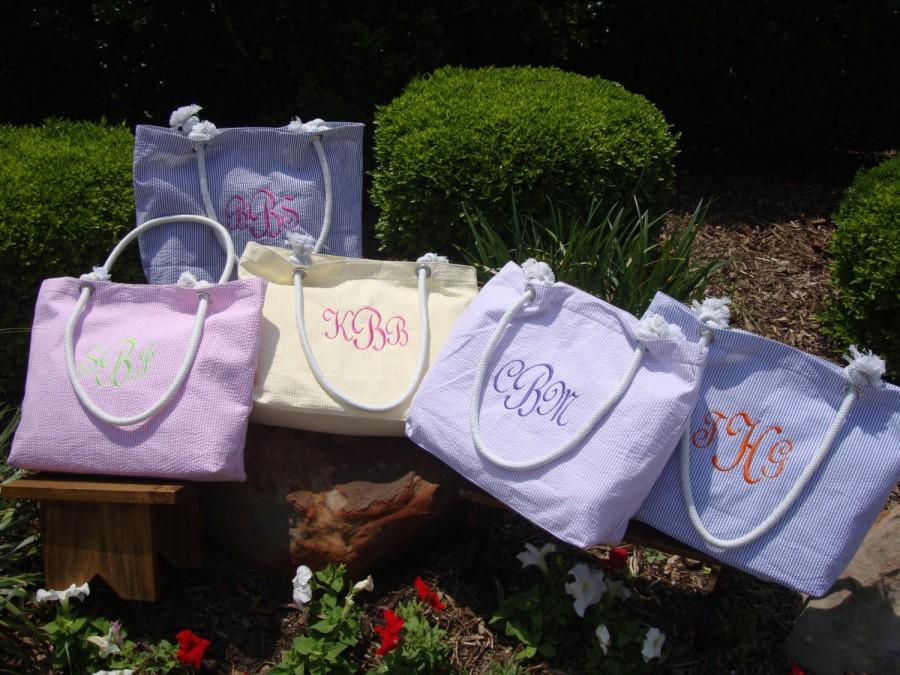 Hochzeit - Personalized Bridesmaids Gift **SALE** Tote Bag in 5 Colors, Wedding Gifts