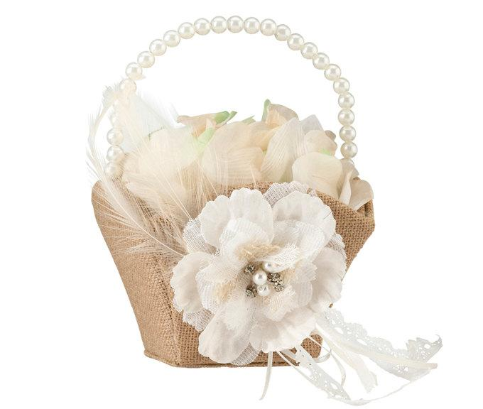 Wedding - Rustic Burlap Petal Basket