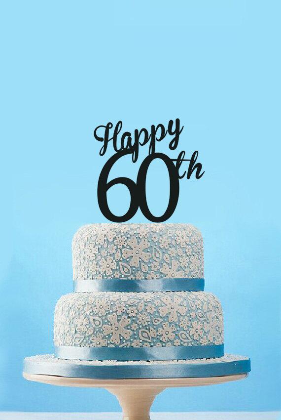 Hochzeit - Happy 60th Cake Topper-60th Birthday Cake Topper-Happy 60th Anniversary Cake Topper-60th Years Cake Topper-Custom Number Cake Topper Decor