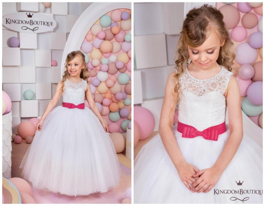 Wedding - Lace White Flower Girl Dress -  Holiday Wedding Birthday Party  Bridesmaid Lace White Tulle Flower Girl Dress