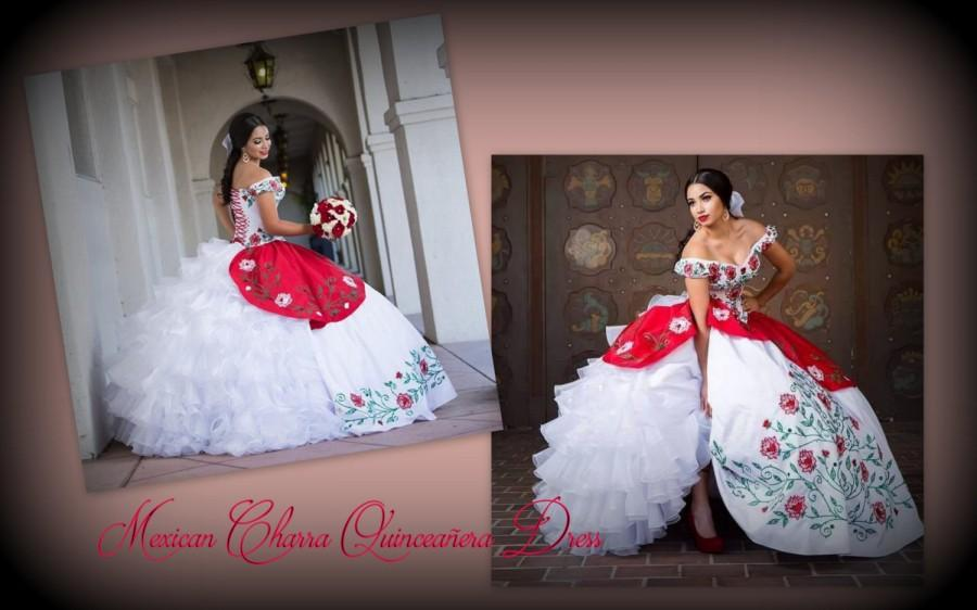 fc6234e5d1 Mexican quinceañera. Charra Inspired Quinceañera Luxurious Bow Multilayered  . Mexican Quinceanera Dress. Quince Dress. Vestido Mexicano