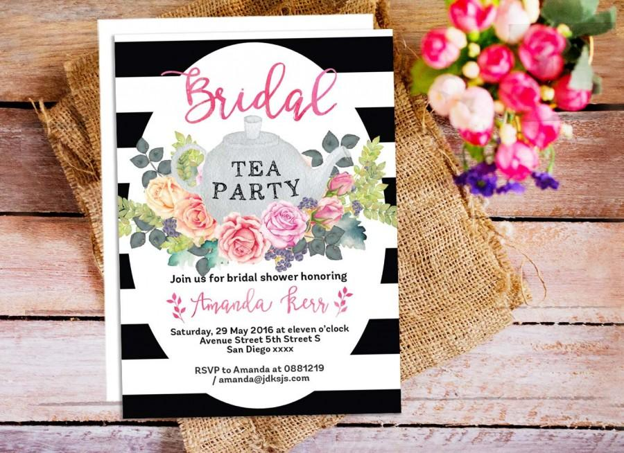 Floral tea party invitations bridal shower tea invitation black floral tea party invitations bridal shower tea invitation black and white stripes invitation garden party invitation afternoon tea party filmwisefo Images