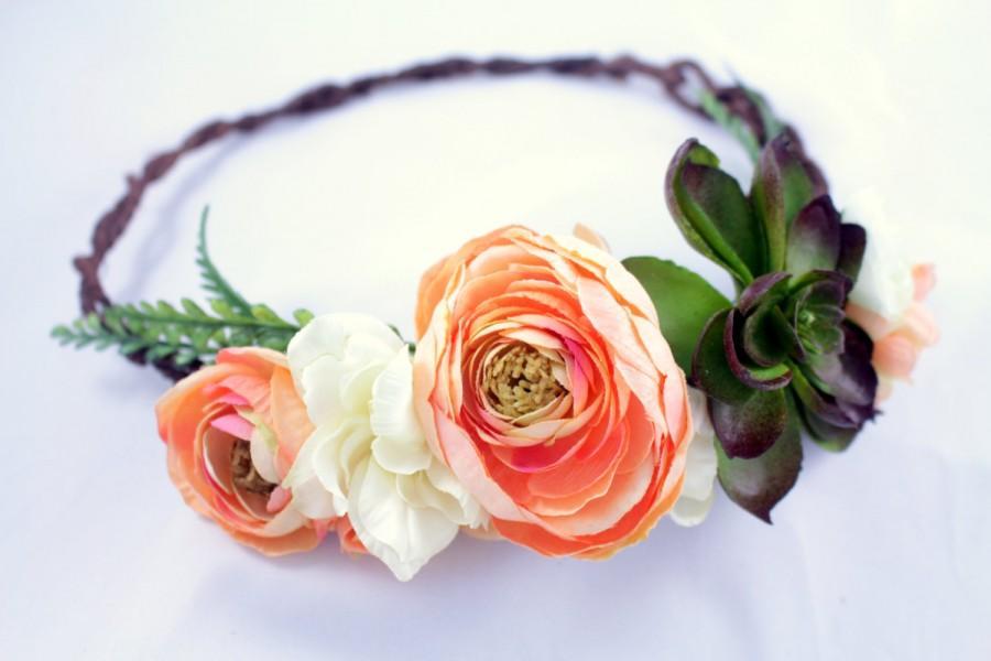 Hochzeit - Rustic coral floral crown