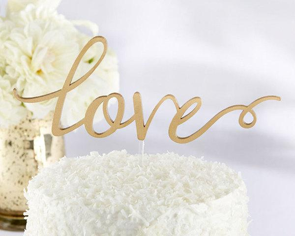 Hochzeit - Love Cake Topper For Weddings Romantic Script Gold Banner Calligraphy Toppers Vintage Rustic Chic Anniversary Bridal Shower Party Cake Decor