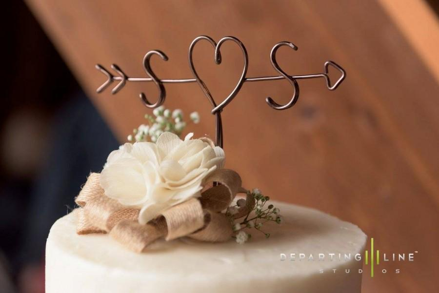 Mariage - Rustic Cake Topper - Wire Cake Topper - Arrow & Initials Cake Topper - Personalized Cake Topper - Rustic Chic - Name Cake Topper - Wedding