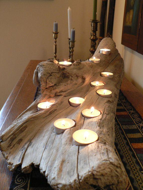 Driftwood Rustic Candle Holder Large Wedding Gift Idea Cabin Decor Coastal Beach