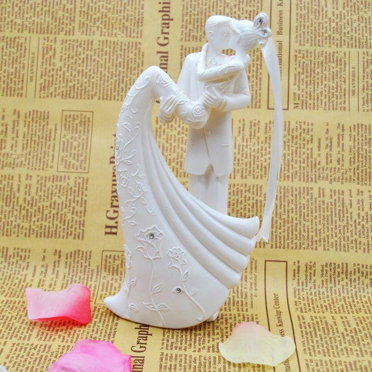 Wedding Cake Topper Bride And Groom Resin White Color Wedding ...