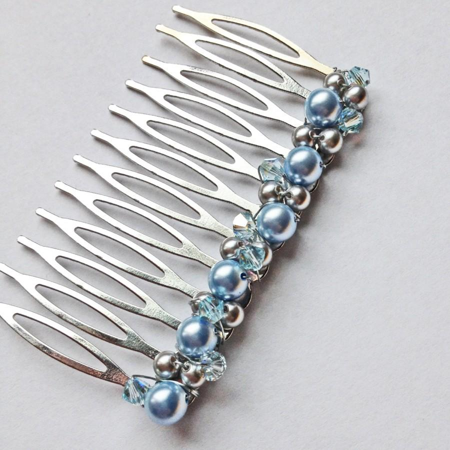 Mariage - Light Blue Grey Pearl Crystal Hair Comb - Something Blue Swarovski Wedding Bridal Hair Accessory