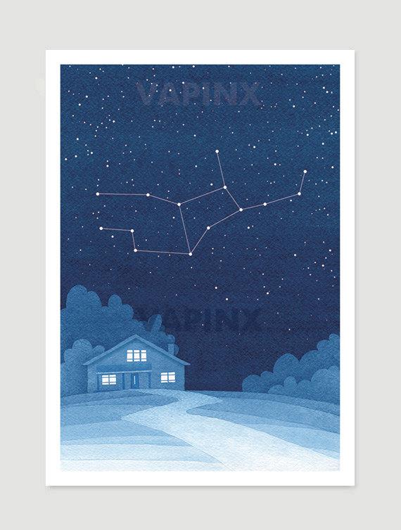 Wedding - Virgo zodiac Watercolor painting constellation giclee print wall decor starry night sky home blue art by VApinx