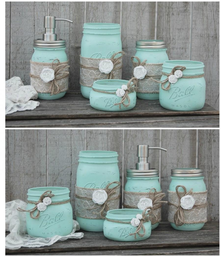 mason jar bathroom set mint green shabby chic soap dispenser bathroom jars 5 piece burlap rustic distressed beach decor metal pump - Bathroom Sets