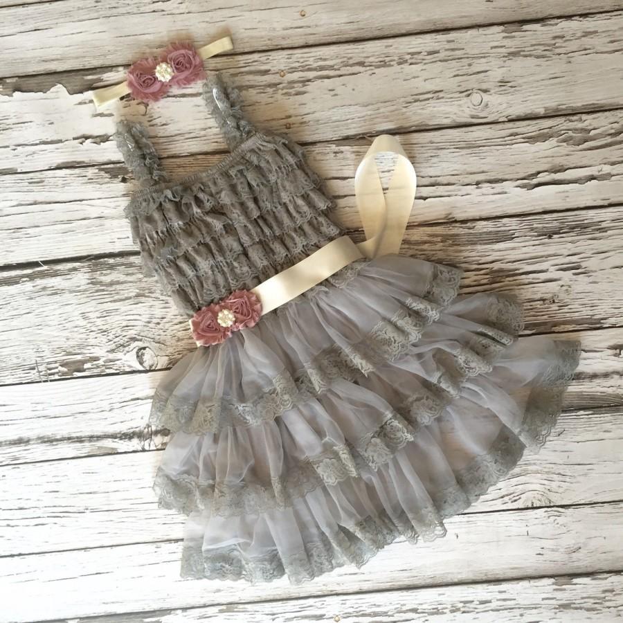 Свадьба - Girls gray dress. Flower girl dress. Toddler dress. Grey girls dress. Gray lace dress. Silver dress. Baby lace dress