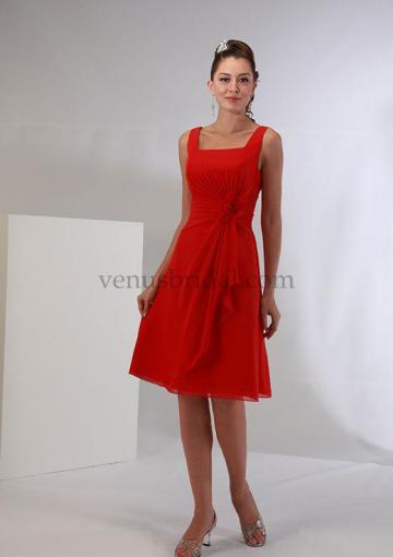 Wedding - Red Flower Chiffon Knee Length Zipper Square Sleeveless