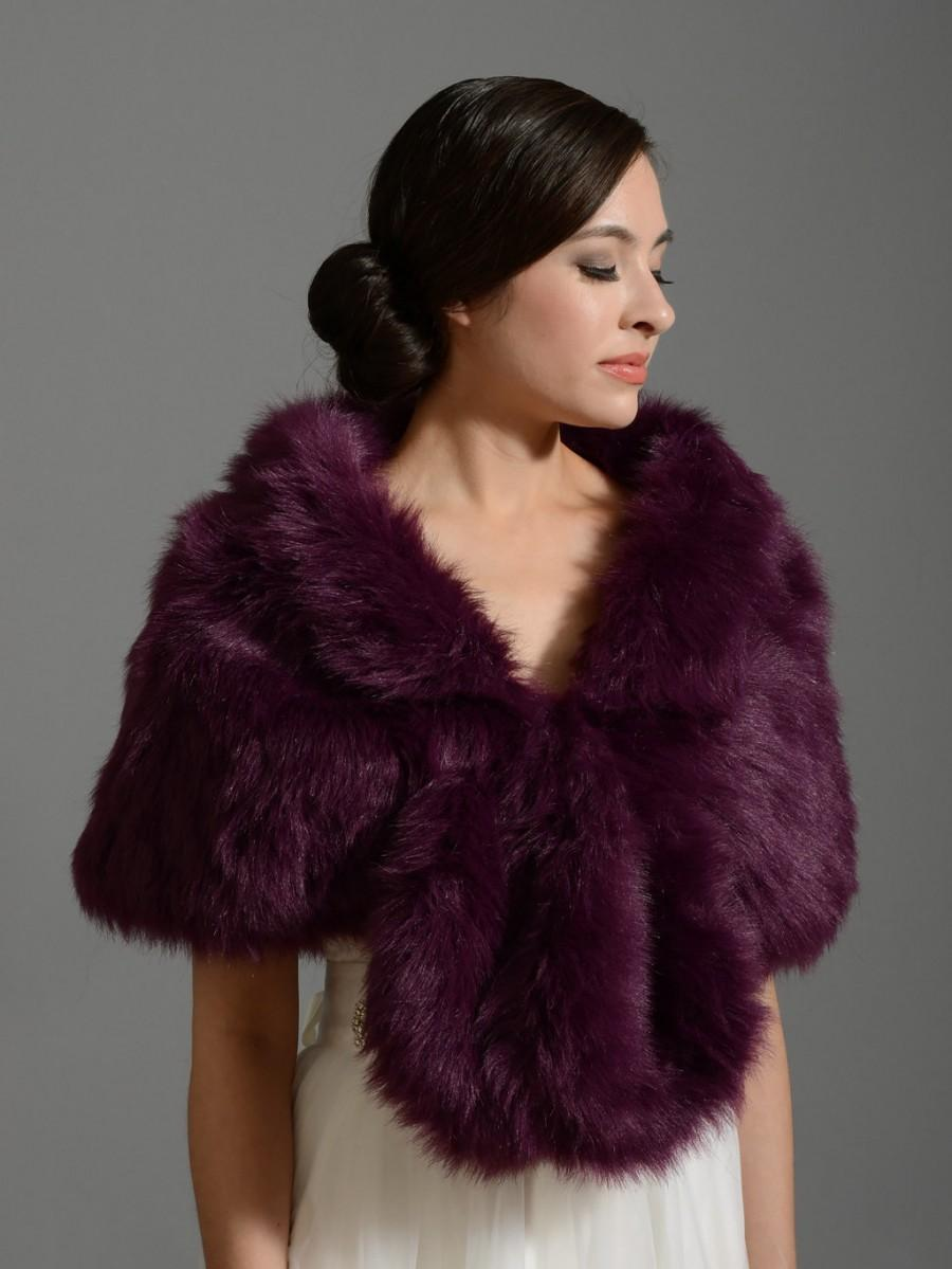 Wedding - Purple faux fur wrap bridal wrap faux fur shrug faux fur stole faux fur shawl faux fur cape A001