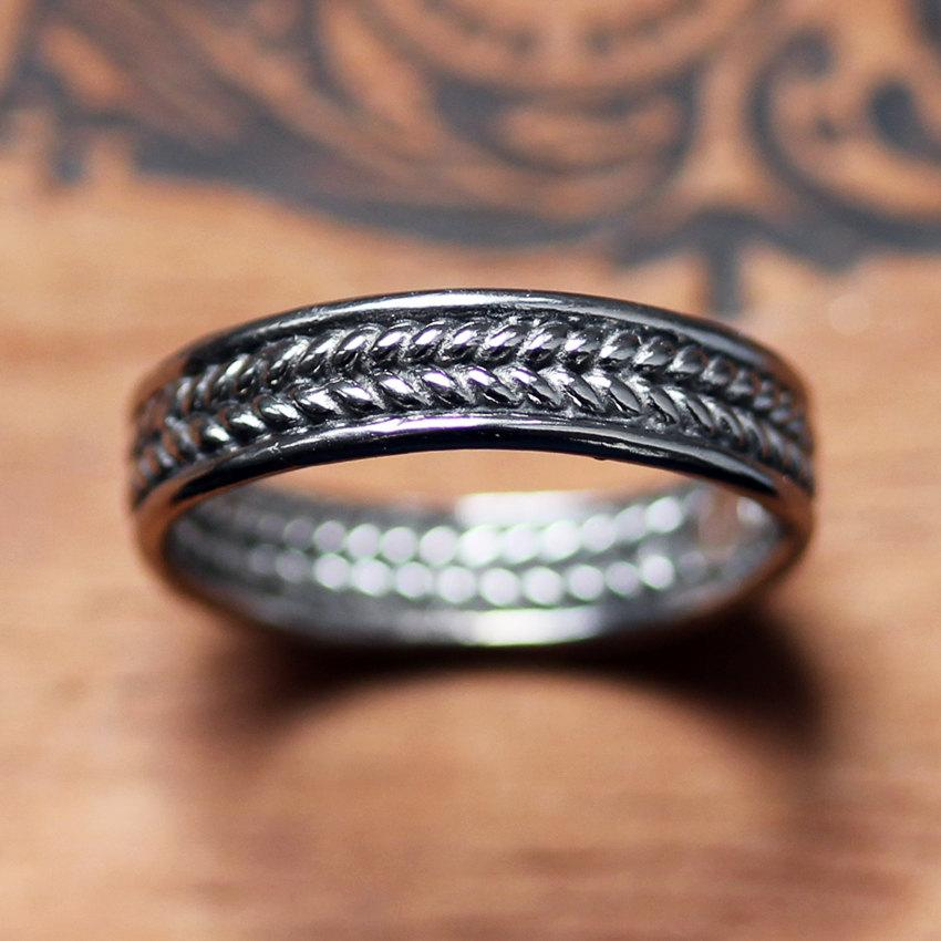 White gold wedding band mens braided wedding band for Woven wedding ring