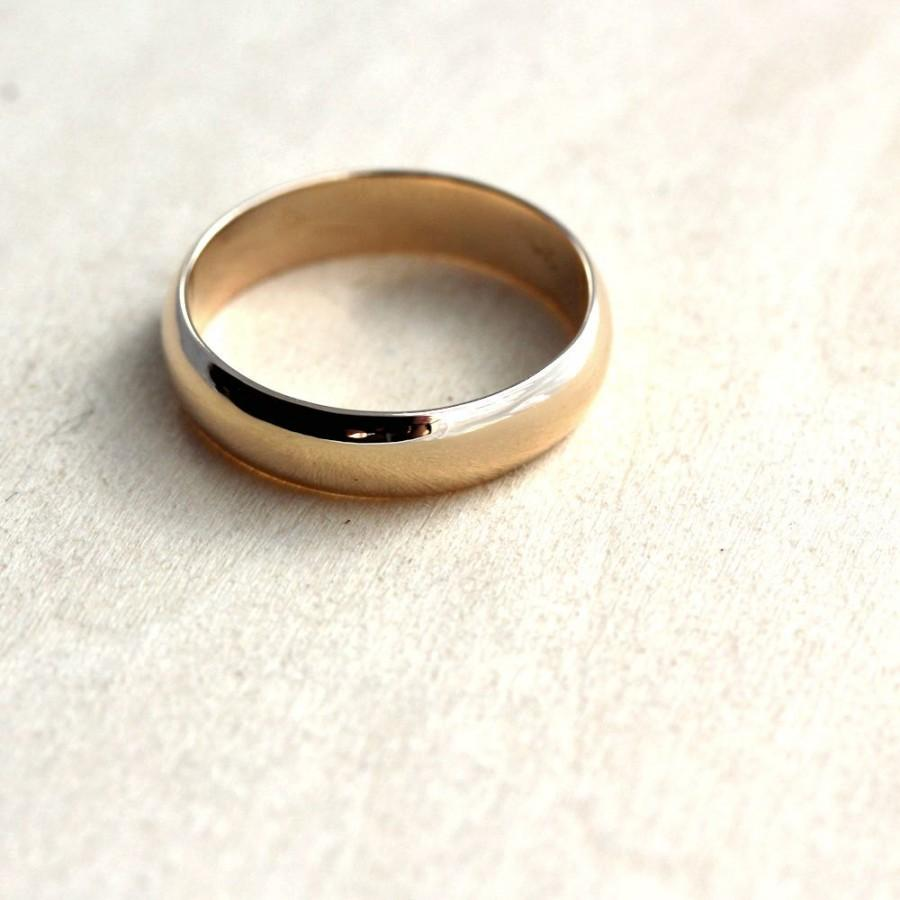 Men S Wedding Band 5mm Half Round 10k Recycled Yellow Gold Ring Made In Your Size