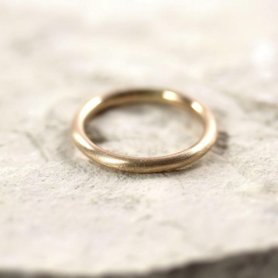 Mariage - Women's 2mm Round Gold Wedding Band, Pudgy Round Recycled 14k Yellow Gold Ring Brushed Gold Wedding Ring or Stacking - Made in Your Size