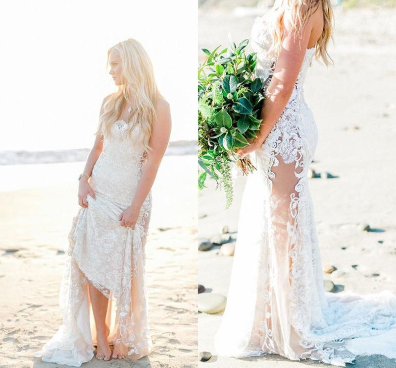 Beach Wedding Dresses Size 16 : Beach wedding dress bridal gown mermaid custom size