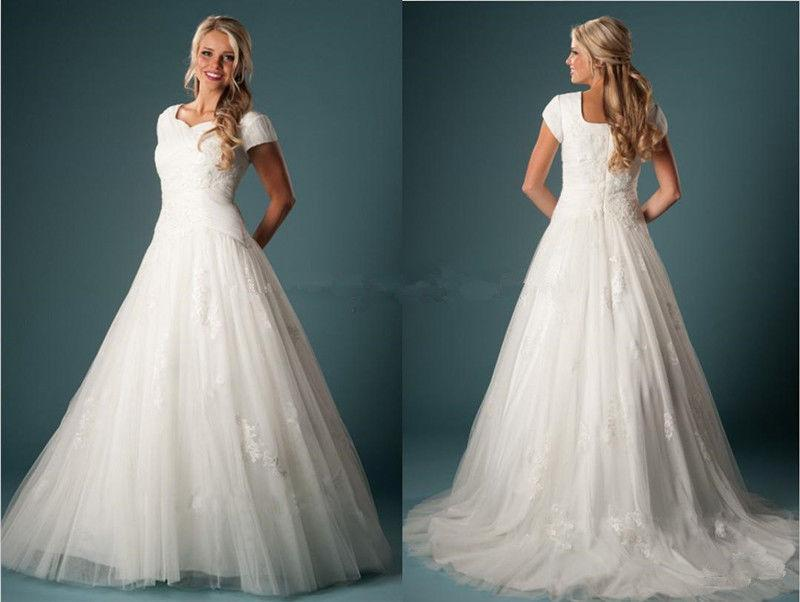 Mariage - Modest Appliques Tulle Wedding Dress Bridal Gown Custom Size 4 6 8 10 12 14 16+