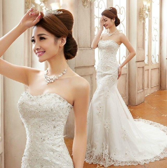 Mariage - Mermaid White/Ivory Lace Wedding Dress Bridal Gown Custom Size 6+8+10+12+14+16++