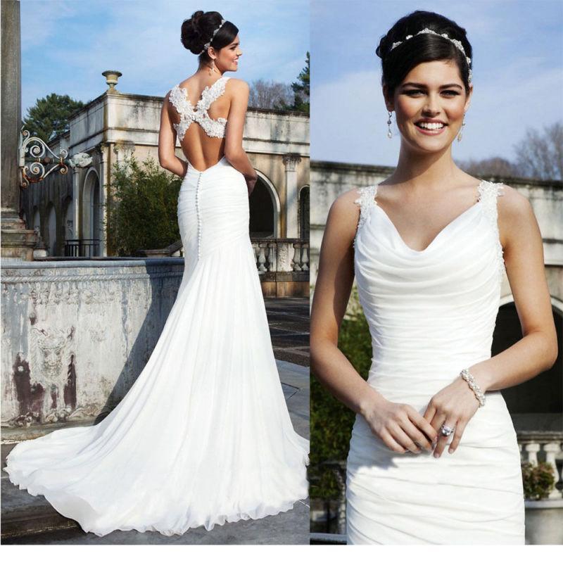 White lace wedding dress ebay