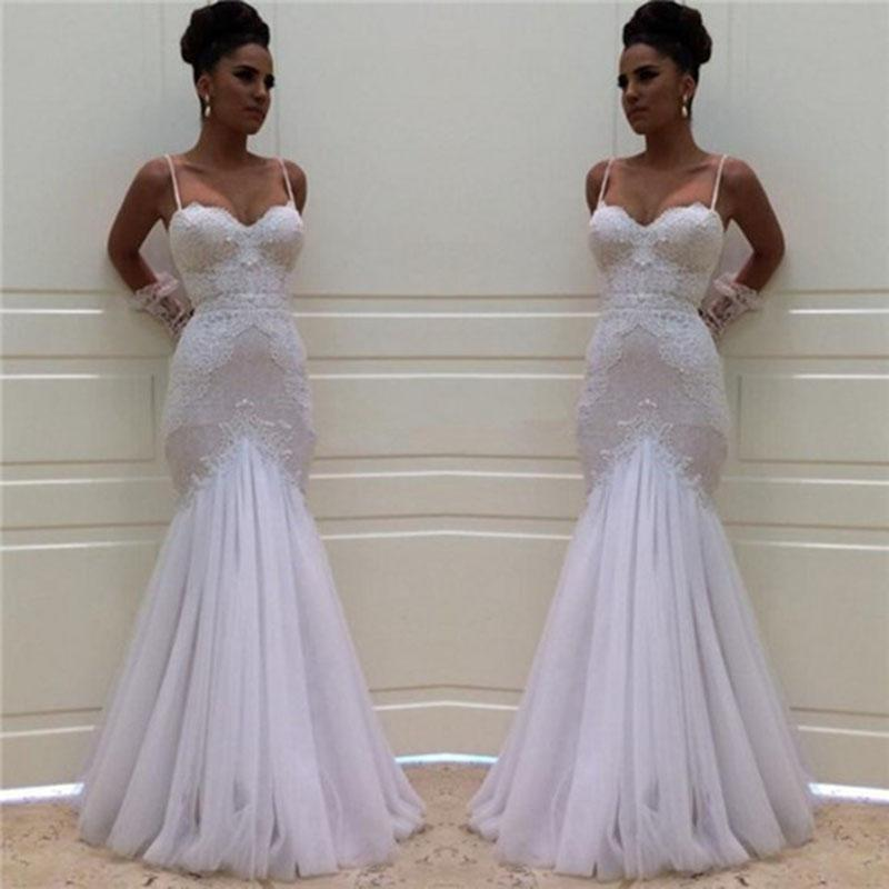 Fishtail Wedding Gowns: Spaghetti Straps Fishtail Lace Wedding Dress Bridal Gown