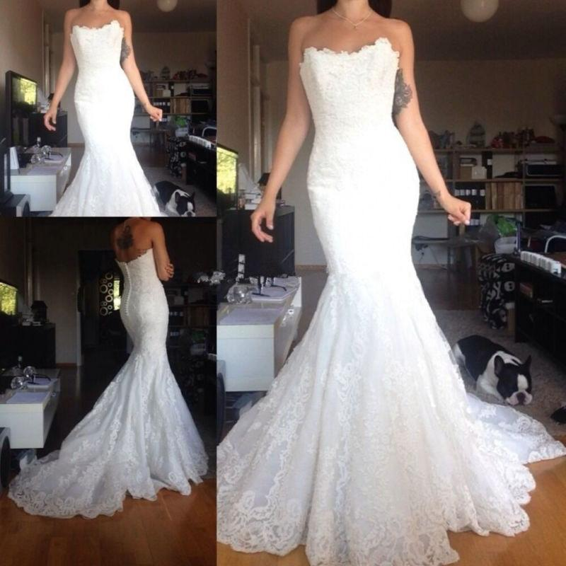 Boda - White/ivory Lace Mermaid Wedding Dress Bridal Gown Custom Size 4 6 8 10 12 14 16
