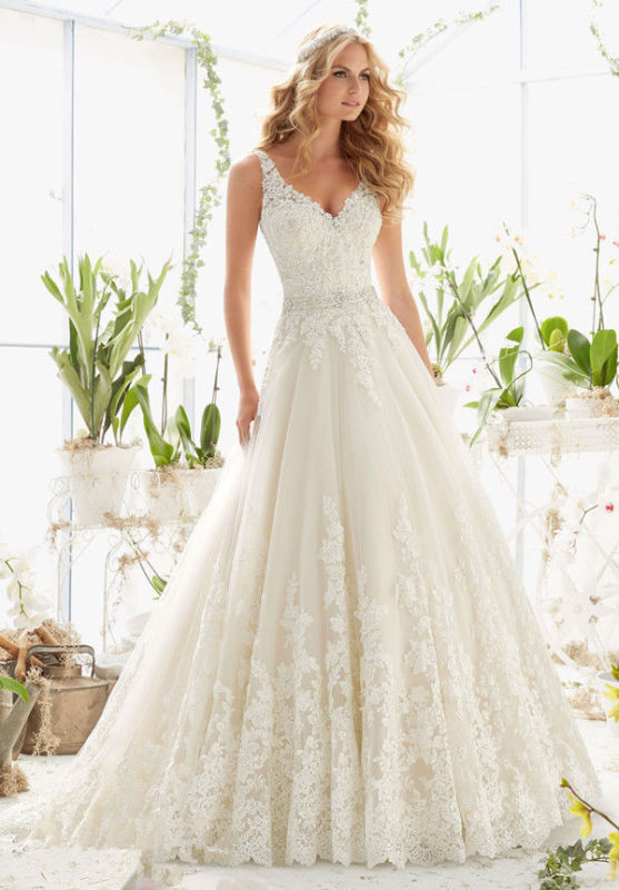 Hochzeit - New White/Ivory lace Bridal Gown Wedding Dress Size 2 4 6 8 10 12 14 16 18+++
