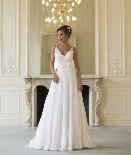 White Ivory V Neck Long Chiffon Bridal Gown Wedding Dress Custom 6 8 10 12 14 16 2547266