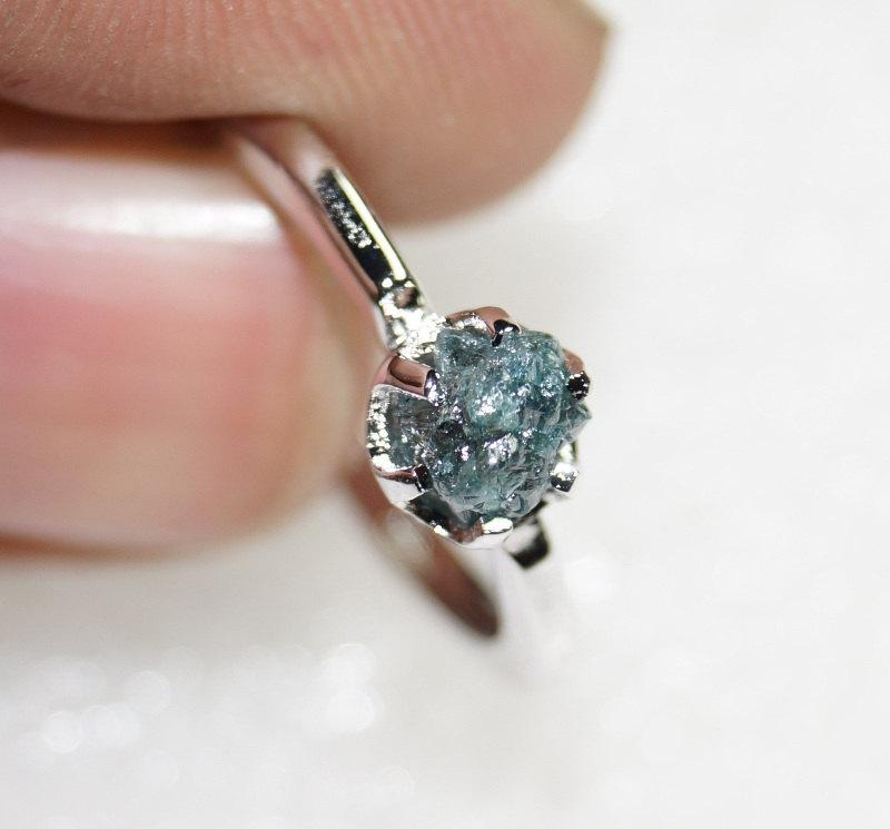 Wedding - SALE!! 0.58 ct natural Greenish Blue uncut rough Raw diamond ring 925 sterling silver wedding ring free shipping! conflict free diamond!!