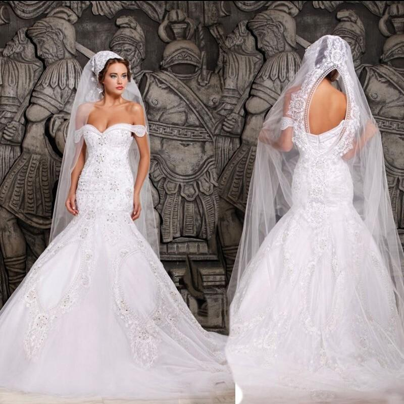 Luxurious mermaid wedding dresses white off the shoulder for Off the shoulder lace mermaid wedding dress