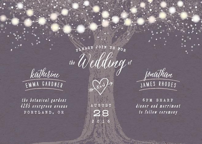 Mariage - Garden Lights - Customizable Wedding Invitations in Purple by Hooray Creative.
