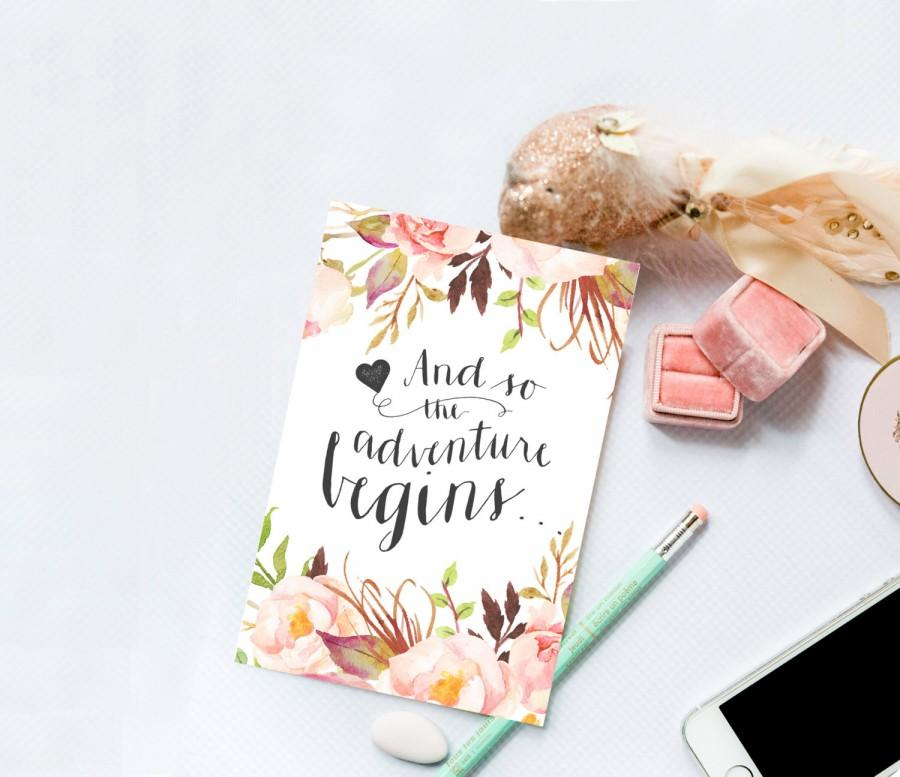 """Mariage - Printable Card Set - """"And so the adventure begins"""" Elegant and Floral, Calligraphy Card"""
