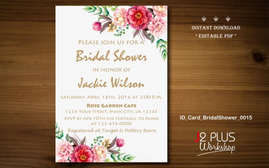 instant download bridal shower invitations printable floral bridal