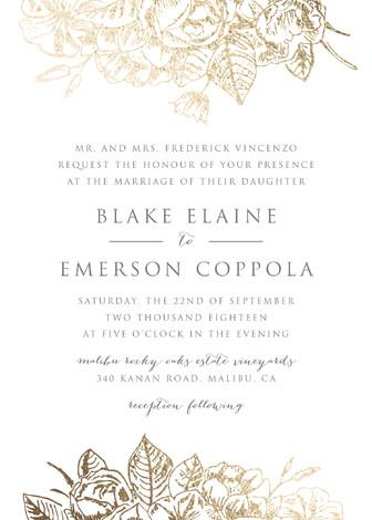 Mariage - Gilded Wildflowers - Customizable Foil-pressed Wedding Invitations in Gold by Smudge Design.