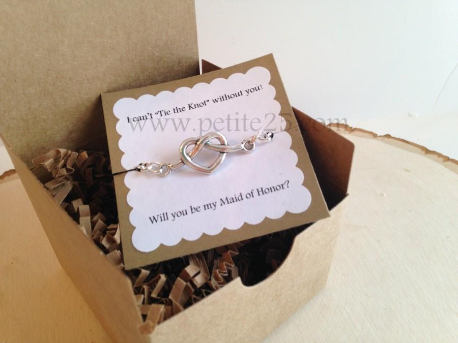 Bridesmaid Invitation One 1 Tie The Knot Heart Bracelet
