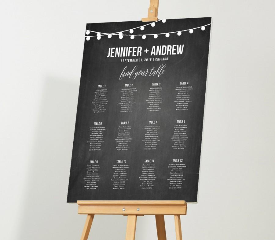 Mariage - Wedding Seat Chart, Instant Download, Rustic String Light Chalkboard Printable, DIY, Seating Chart Template, Table Plan, Custom Editable PDF