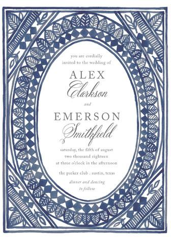 Mariage - Ornate Watercolor Frame - Customizable Wedding Invitations in Blue by Katharine Watson.