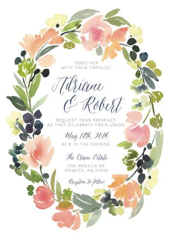Mariage - Watercolor Wreath - Customizable Wedding Invitations in Pink by Yao Cheng.