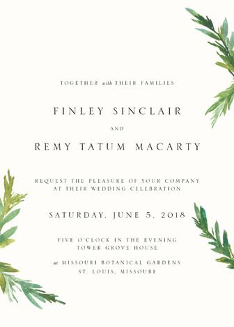 Mariage - Simple Pine Branches - Customizable Wedding Invitations in White by Nikkol Christiansen.