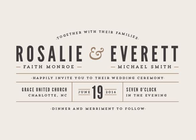 Wedding - Classic Type - Customizable Wedding Invitations in Brown by Pistols.