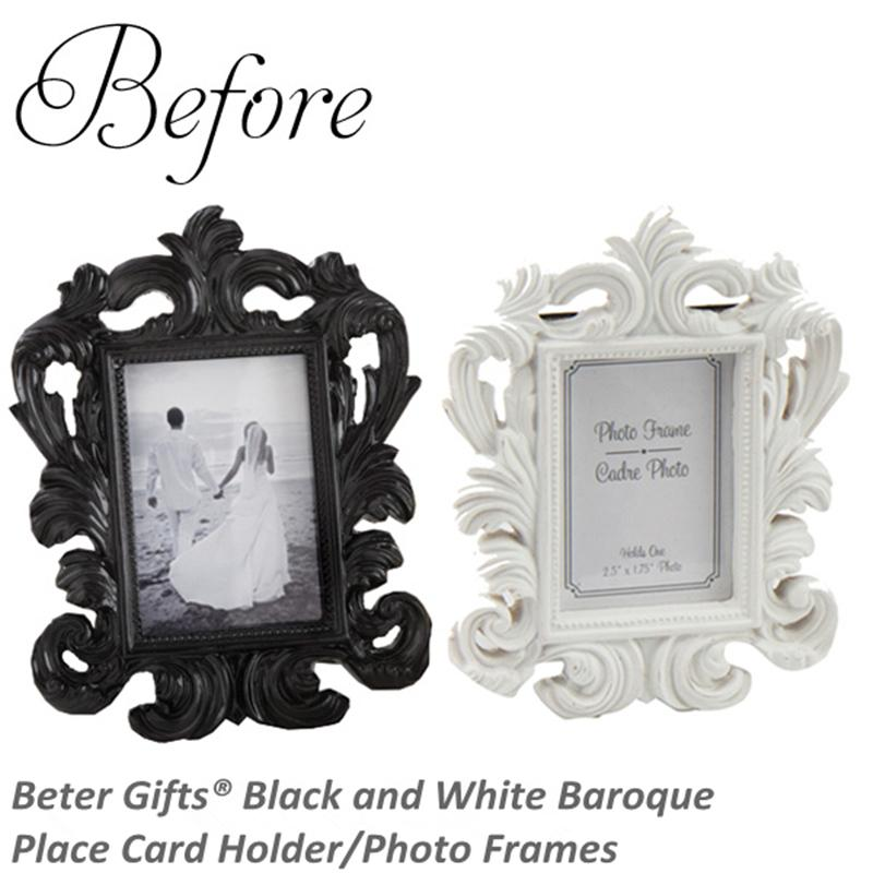 Beter Gifts® Black And White Baroque Place Card Holder/Photo Frames ...