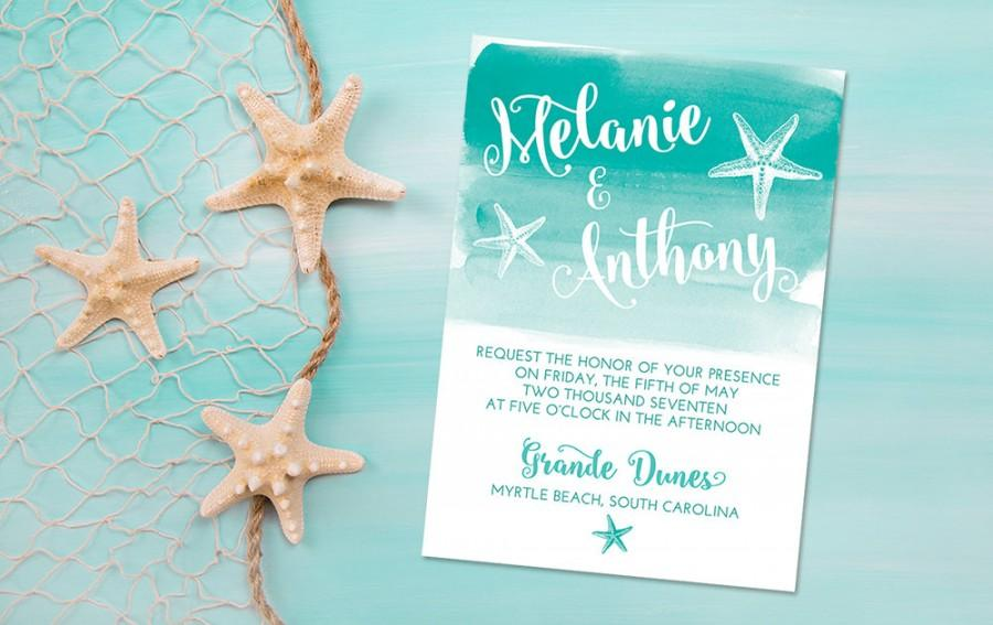 Beach Wedding Invitation Card Starfish Watercolor Sea Star Wash We Print