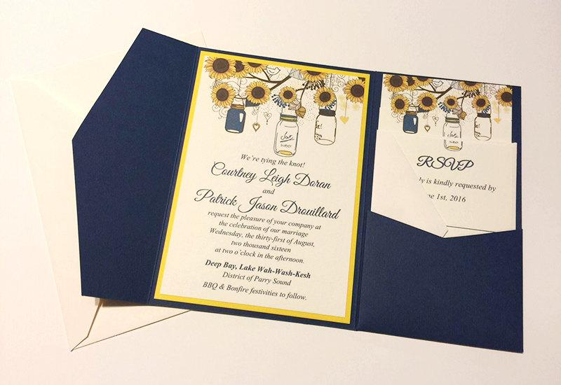 Sunflower Wedding Invitation Pocketfold Set Mason Jar Wedding - Sunflower wedding invitations templates